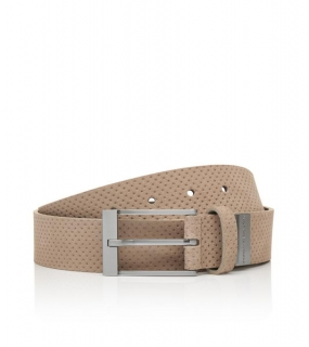Porsche Design PIN BUCKLE 35 PERFORATED BUSINESS BELT Opasek perforovaný 110 cm ovčí béžová mouton, steel