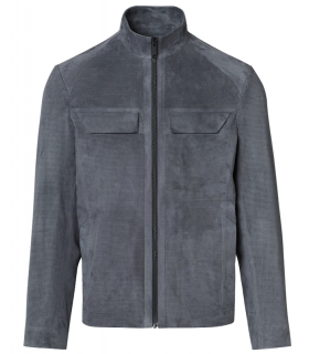 Porsche Design PERFORATED GOAT SUEDE LEATHER JACKET exkluzivní kožená bunda šedá